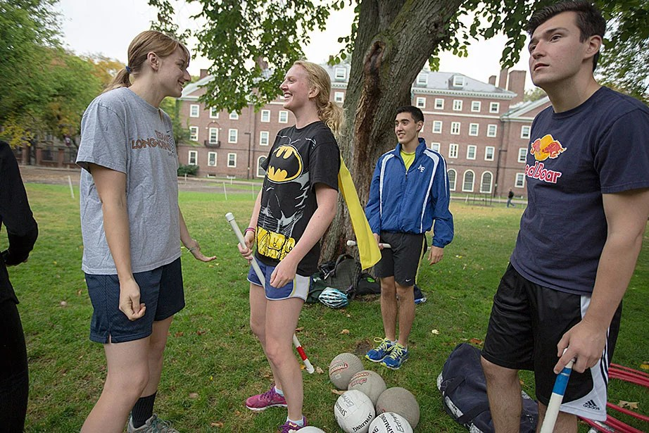 Monica Marion '17 (from left), Meg Knister '17, Phillip Ramirez '18, and Anthony Ramicone '15 during practice.