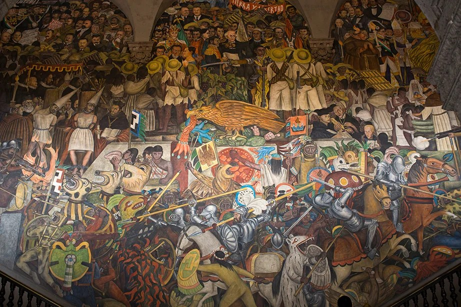 The main stairwell at the Palacio Nacional and the mural by Diego Rivera depicting Mexico's history. Stephanie Mitchell/Harvard Staff Photographer
