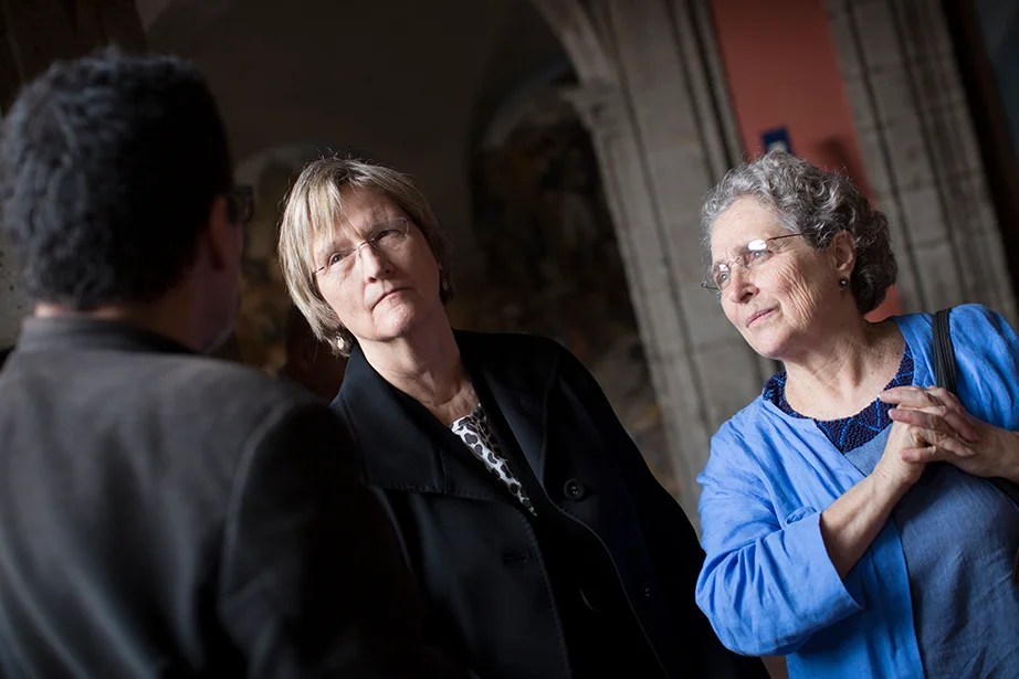 Drew Faust (left) and Clara Bargellini, Ph.D. '74, are pictured at the Palacio Nacional. Stephanie Mitchell/Harvard Staff Photographer