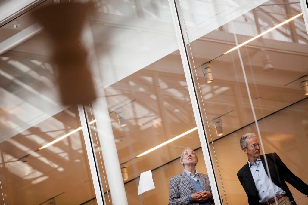 Architect Renzo Piano (left) tours the museums' renovation and expansion project with Thomas W. Lentz, the Elizabeth and John Moors Cabot Director of the Harvard Art Museums. Stephanie Mitchell/Harvard Staff Photographer