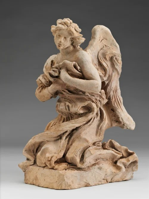 """Kneeling Angel,"" 1672, by Gian Lorenzo Bernini is one of several terra cotta sketches in the Harvard Art Museums' winter garden gallery that reveal the artist's ""sculptural handwriting."" Photo: Harvard Art Museums, © President and Fellows of Harvard College"