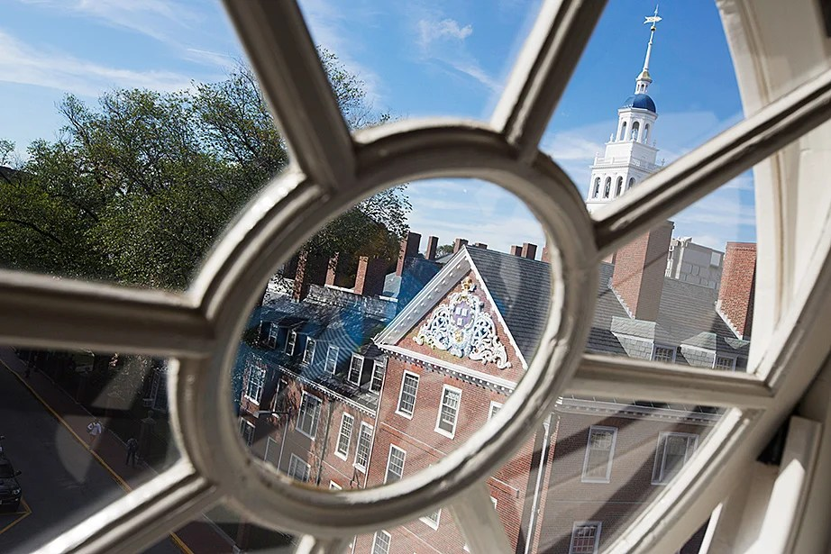 A window inside Miguel Perez-Luna's room frames Lowell House, which will also undergo renovation. Kris Snibbe/Harvard Staff Photographer