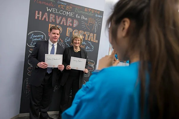 Joining President Faust and other Harvard leaders at Saturday's grand opening, Boston Mayor Martin J. Walsh lauded the expanded Ed Portal as a route to empowerment for residents of all ages.