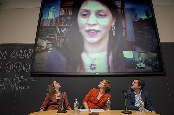 """""""If we relax our efforts, even for a moment, this thing [malaria] will come back and be worse than before,"""" said Sonia Shah (on screen), a science journalist who was part of a panel discussion titled """"In Our Blood: Challenging Millennials to End Malaria."""" Joining Shah, who used Skype to participate, were Kate Otto (from left), Maggie Koerth-Baker, and John Brownstein."""