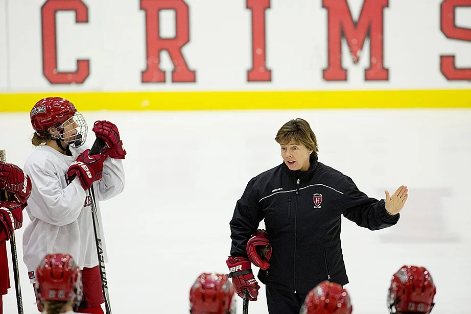 Katey Stone, the Landry Family Head Coach for Harvard women's ice hockey, is the winningest coach in the history of Division I women's hockey, with 402 victories. Jon Chase/Harvard Staff Photographer