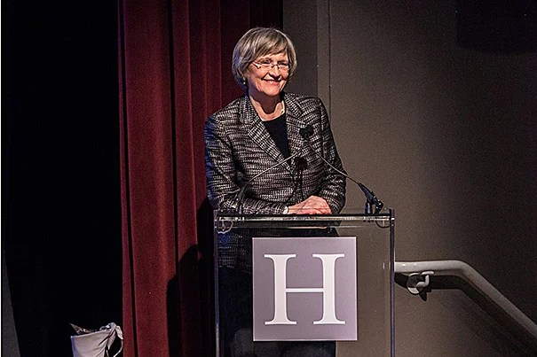 Harvard President Drew Faust (photo 1) delivered opening remarks at Your Harvard: Seattle at the Seattle Art Museum (photo 2).