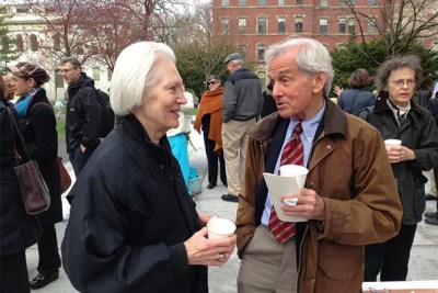 Suzanne Hamner and Bill Crout during a Wednesday coffee-hour gathering outside the Memorial Church (date unknown). A service of remembrance will be held for Crout at the Memorial Church on Friday at 10 a.m.