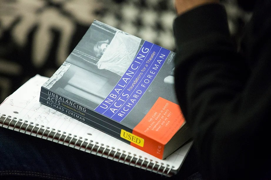 A textbook is close by for reference during directing class. Jon Chase/Harvard Staff Photographer