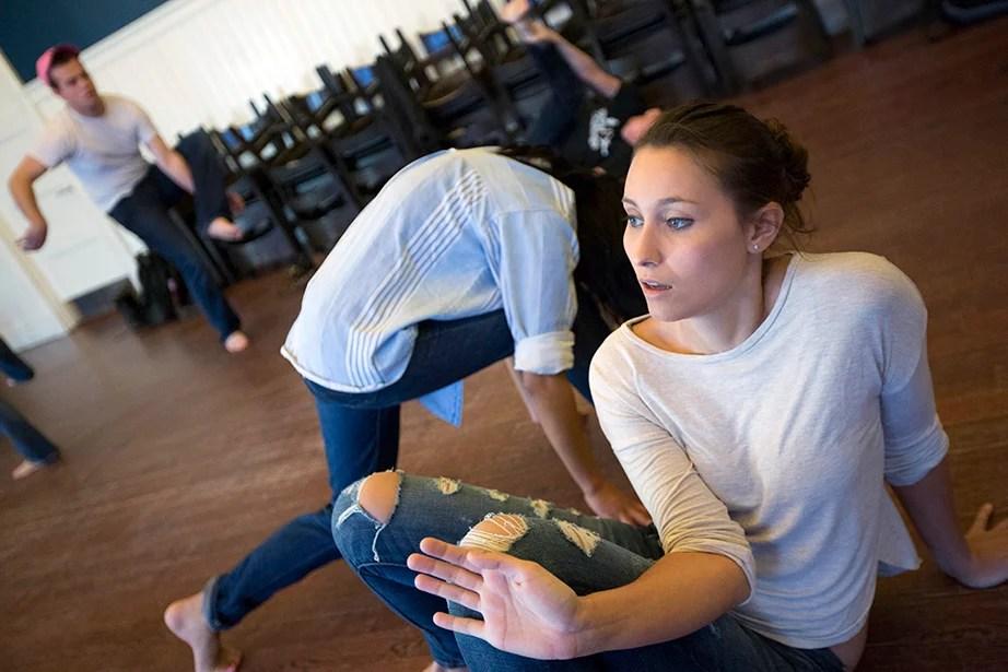 "Tess Davidson '16 enjoys an acting warm-up exercise during ""Dramatic Arts: Acting and Authenticity."" Kris Snibbe/Harvard Staff Photographer"