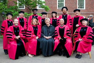 President Drew Faust (center, black robe) sits among those who will be receiving honorary degrees during Harvard's 364th Commencement. Harvard Provost Alan M. Garber (front row, far left) is also pictured.