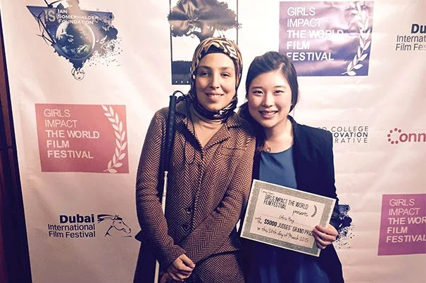 """Sara Minkara (left), a blind Muslim activist and social entrepreneur enrolled at Harvard Kennedy School, was the subject of the film """"Losing Sight, But Gaining a Vision"""" by  Gloria Hong '15. Hong's film won the Grand Jury Prize at the Girls Impact the World Film Festival."""