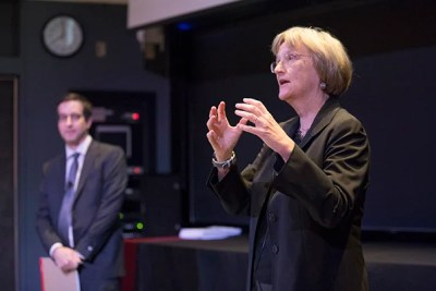 President Faust discussed the survey results with students Monday night at the Science Center.