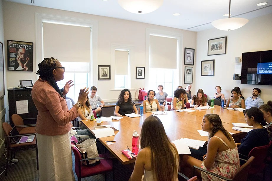 """Jamaica Kincaid teaches """"African-American Literature from the Beginnings to the Harlem Renaissance"""" inside the Barker Center. Kris Snibbe/Harvard Staff Photographer"""