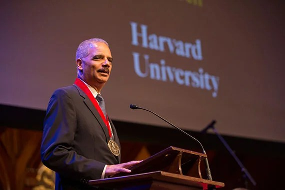 Eric Holder was presented his medal at Harvard Universityís Hutchins Center for African & African American Research  2015 W.E.B. Du Bois Medalists ceremony at   Sanders Theatre, Memorial Hall. Rose Lincoln/Harvard Staff Photographer