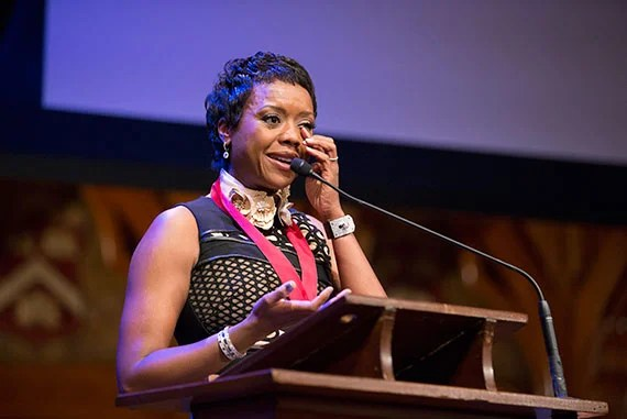 Mellody Hobson was presented her medal by Nitin Nohria at Harvard Universityís Hutchins Center for African & African American Research  2015 W.E.B. Du Bois Medalists ceremony at   Sanders Theatre, Memorial Hall. Rose Lincoln/Harvard Staff Photographer