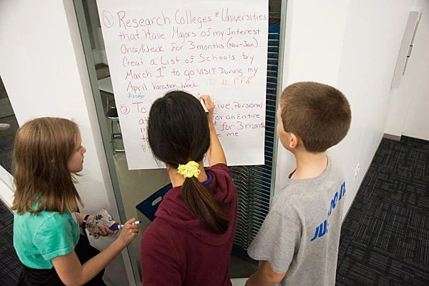 Students reviewed goals as parents joined in conversation about preparing their children for college. Teens to elementary school-age youngsters were part of the workshop at the Harvard Ed Portal.