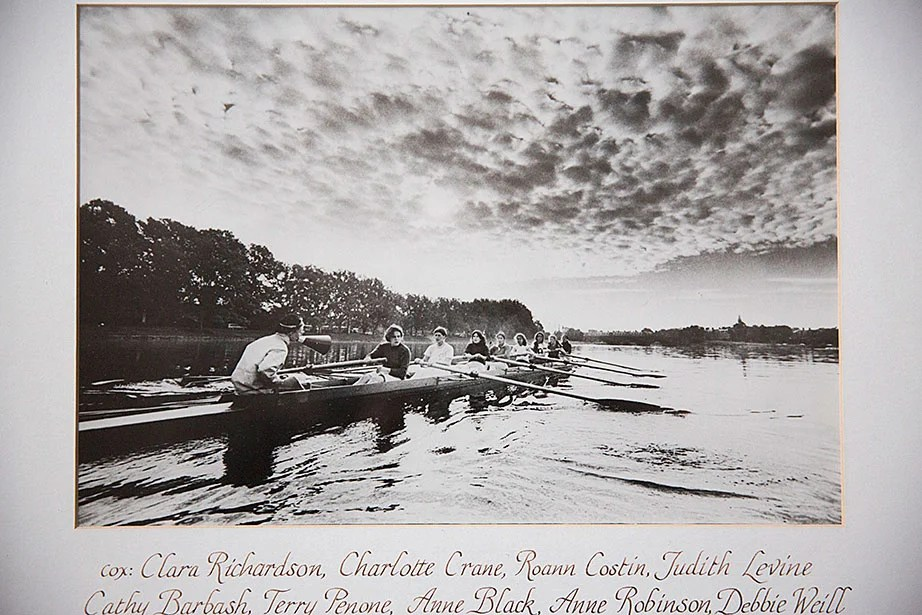 This historical photo shows a 1972 practice on the Charles River.
