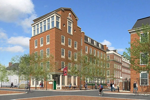 """Plans for """"Winthrop East,"""" a five-story addition to Gore Hall, were revised to reflect a more traditional look after the community's response to the contemporary design originally proposed."""