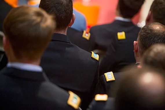 Harvard ROTC students and invited military guests attended the talk. Rose Lincoln/Harvard Staff Photographer