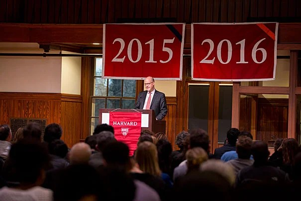 Executive director of the Harvard Alumni Association Philip Lovejoy spoke at The Harvard University Mid-Year Graduation ceremony which was held at the Knafel Center at Radcliffe