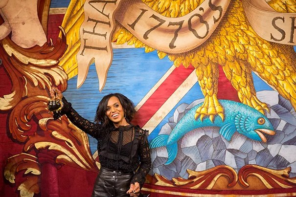 """""""Scandal"""" star Kerry Washington reigned over Harvard today as Hasty Pudding Theatricals' Woman of the Year. In a Farkas Hall roast she claimed her coveted Pudding Pot, toured the streets to great fanfare (photo 2), and earlier in the afternoon received a warm welcome from the Hasty crew, who gifted her with a ceremonial scarf and medal (photo 3)."""