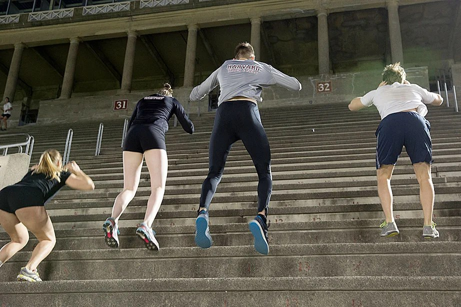 "Harvard Track and Field team members do a standing two-legged hop up the seats. Their routine involved hopping up about a dozen seats, resting briefly, then doing another nine or 10 sets —and that was the restricted, ""lighter"" workout."
