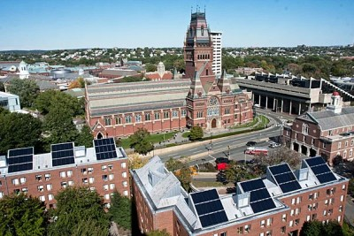 Harvard climate change research includes  projects that sound as futuristic as shooting reflective particles into the atmosphere to deflect the sun's rays — and as down-to-earth as grassroots community campaigns to spark behavior changes at home. Solar panels, which top Canady Hall, were one of the University's earliest endeavors.