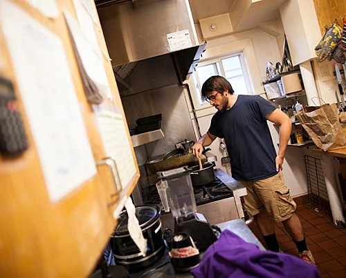 Initially confused about the mostly vegetarian meals served at the Dudley Co-op, Stergios Dinopoulos '17 now shares in the meal-making role.