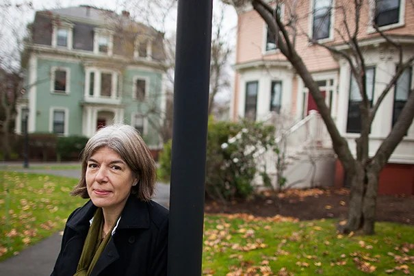 Author Claire Messud speaks about the art of writing. She is pictured outside her office, one of the places where she writes, in the Bunting Quadrangle at Harvard University. Stephanie Mitchell/Harvard Staff Photographer