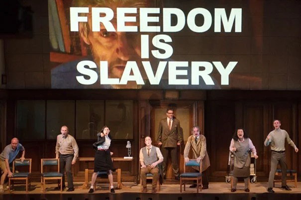 """Orwell's novel """"1984"""" tapped into mid-century """"fears about the combination of new technologies and authoritarian secretive politics, and how that is going to control thought and lives,"""" said Ash Center director Anthony Saich, who will lead a discussion on social media in China on March 2. The A.R.T.'s stage adaptation of """"1984"""" runs through March 6."""