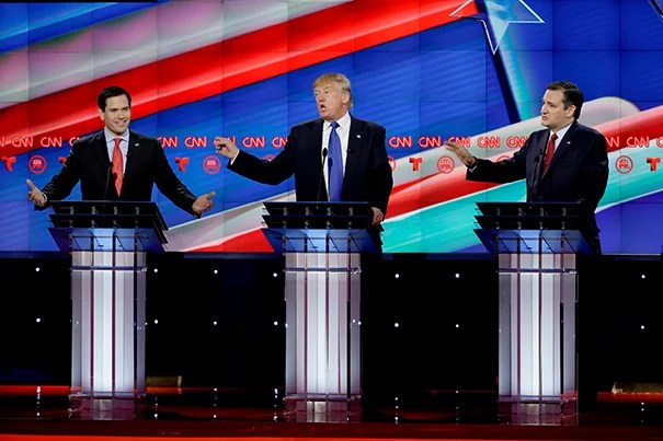 Republican presidential candidates Marco Rubio, Donald Trump, and Ted Cruz are pictured during the most recent GOP debate.