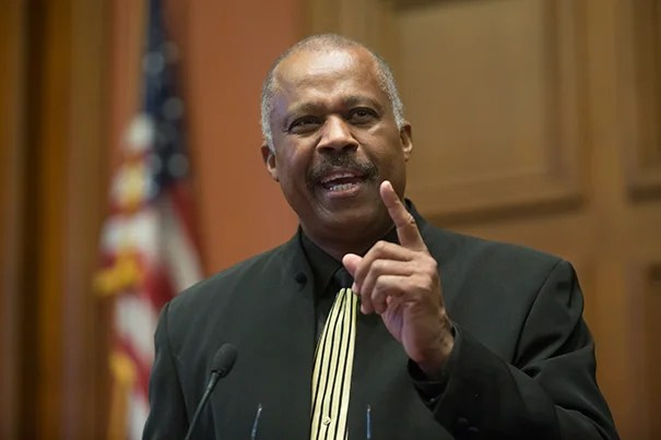 """""""This is not about retribution and anger, it's about atonement; it's about the building of bridges across lines of moral justice,"""" said Sir Hilary Beckles, a distinguished historian from Barbados who made the case for reparations during a talk at Harvard Law School this week."""
