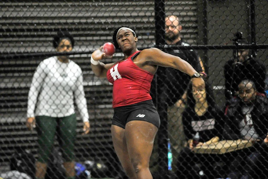 Nikki Okwelogu '17 heaves the shot put 55 feet 7 inches (16.94 meters), a season-best distance, to win by nearly seven feet.