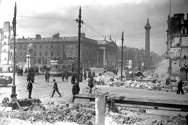 Following the Easter Rising in April 1916, the hollowed-out General Post Office stood amid the rubble of Sackville Street (now O'Connell Street) in Dublin.