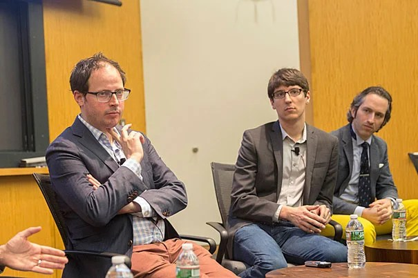 Panelists Nate Silver (from left) of FiveThirtyEight, Nate Cohn of The Upshot, and David Rothschild of Microsoft Research spoke during a conference about the field of data analytics and its potential applications to politics.