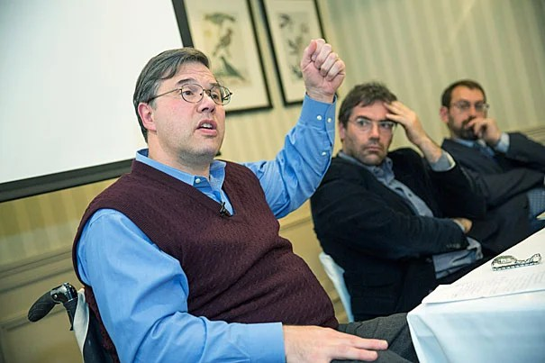 """Michael Stein (from left), Tommaso Vitale, and Samuel Moyn speak at a panel on social inequalities hosted by the Weatherhead Center for International Affairs. """"We have a very big boat to turn, but we see progress,"""" Stein said."""