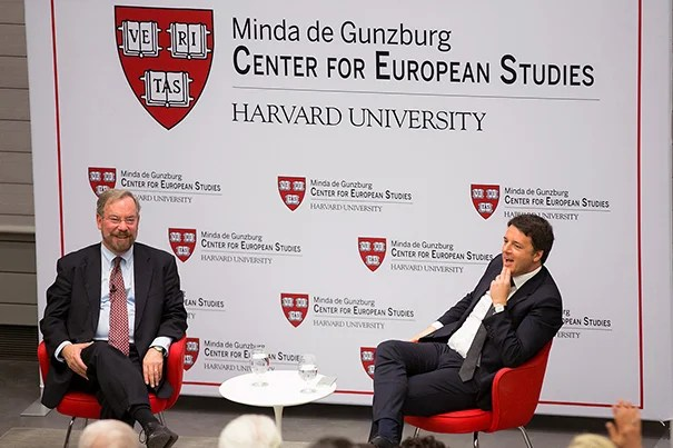 """The terrorists who killed people in Brussels … they didn't come from Syria or from Libya or Tunisia or Afghanistan,"" said Italian Prime Minister Matteo Renzi (right) during his talk at Harvard. ""They grew up in Europe."" Talking with Renzi was Professor Peter A. Hall, Krupp Professor of European Studies, who is a CES resident faculty."