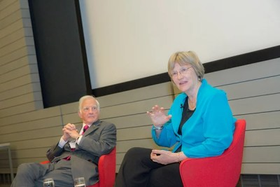"The Derek Bok Center for Teaching and Learning celebrated its 40th anniversary with a conversation between President Drew Faust (right) and President Emeritus Derek Bok. Faust praised the center for having been ""transformational for higher education and certainly for this institution."""