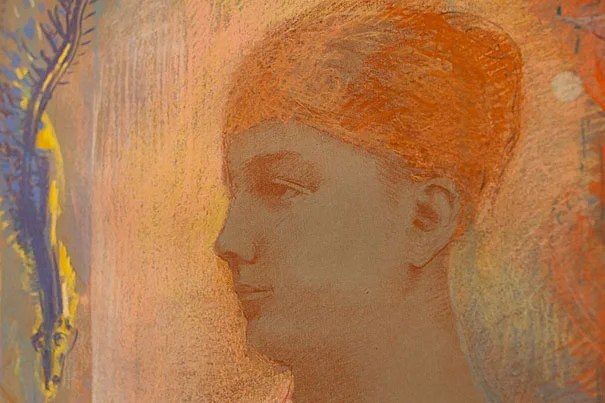 "The drawing ""Head of a Young Woman"" by Odilon Redon is among the pieces included in ""Flowers of Evil: Symbolist Drawings, 1870-1910,"" one of the new exhibits on display at the Harvard Art Museums."