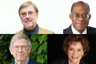 President Drew Faust will present the 2016 Harvard Medal to Thomas G. Everett (clockwise from top left), Roger W. Ferguson Jr. '73, A.M. '78, J.D. '79, Ph.D. '81, Betsey Bradley Urschel, Ed.M. '63, and John H. McArthur, M.B.A. '59, D.B.A. '63.
