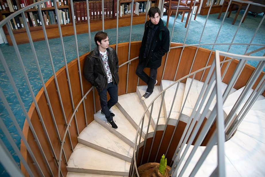 """Joining the [WHRB] Record Hospital eased my greatest concern about Harvard: that people here wouldn't be weird enough,"" says Eli Lee. ""If you'd told me three years ago that in college I would be able to study Central Asian languages during the day and debate hardcore scene politics at night, I wouldn't have believed you."" Kris Snibbe/Harvard Staff Photographer"