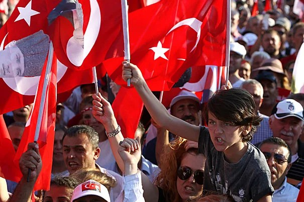 Participants at a recent rally waved Turkish flags and chanted nationalist slogans after the attempted coup on July 15.