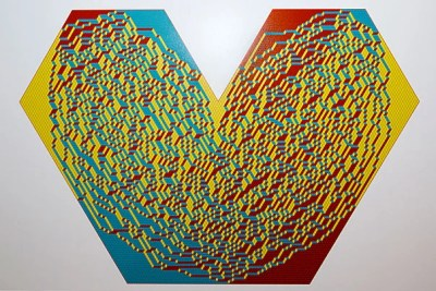 """Random Heart"" is a computer-simulated image that is part of ""The Art of Discovery,"" an interdisciplinary art show at the Radcliffe's Johnson-Kulukundis Family Gallery. The work is by Radcliffe Fellow and mathematician Alexei Borodin and Leonid Petrov."