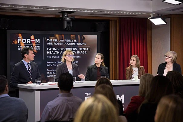 "Thomas Weigel (left), S. Bryn Austin, Alison Field,  Claire Mysko, and moderator Carol Hills engage in a panel discussion during ""Eating Disorders, Mental Health, and Body Image,"" hosted by Harvard Chan School."
