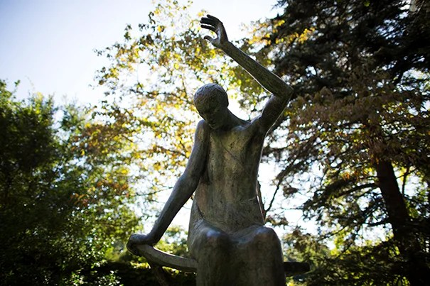 An aspect of Oracle: Portentous by Marianna Pineda, which sits beside the Schlesinger Library on the grounds of the Radcliffe Institute for Advanced Study.