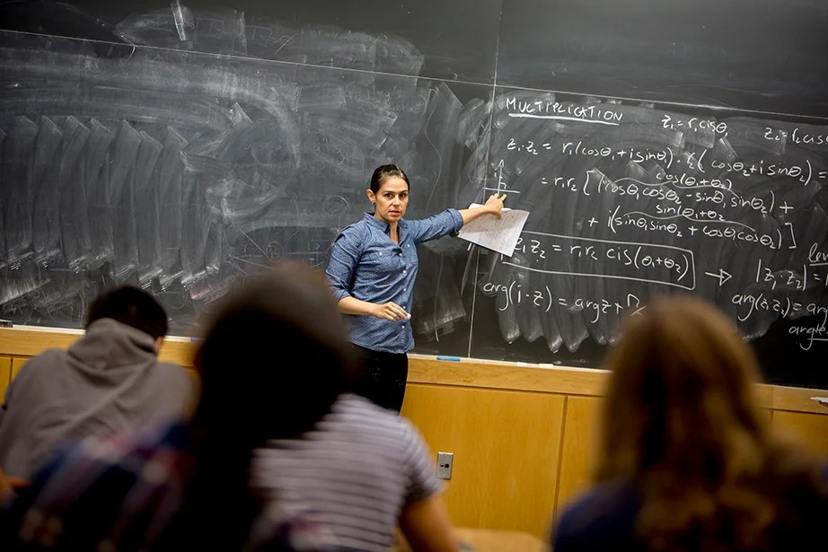 "Yasmine Meroz teaches ""Series Expansions and Complex Analysis,"" a class that introduces fundamental concepts for solving real-world problems and emphasizes their applications through examples from the physical and social sciences. Rose Lincoln/Harvard Staff Photographer"