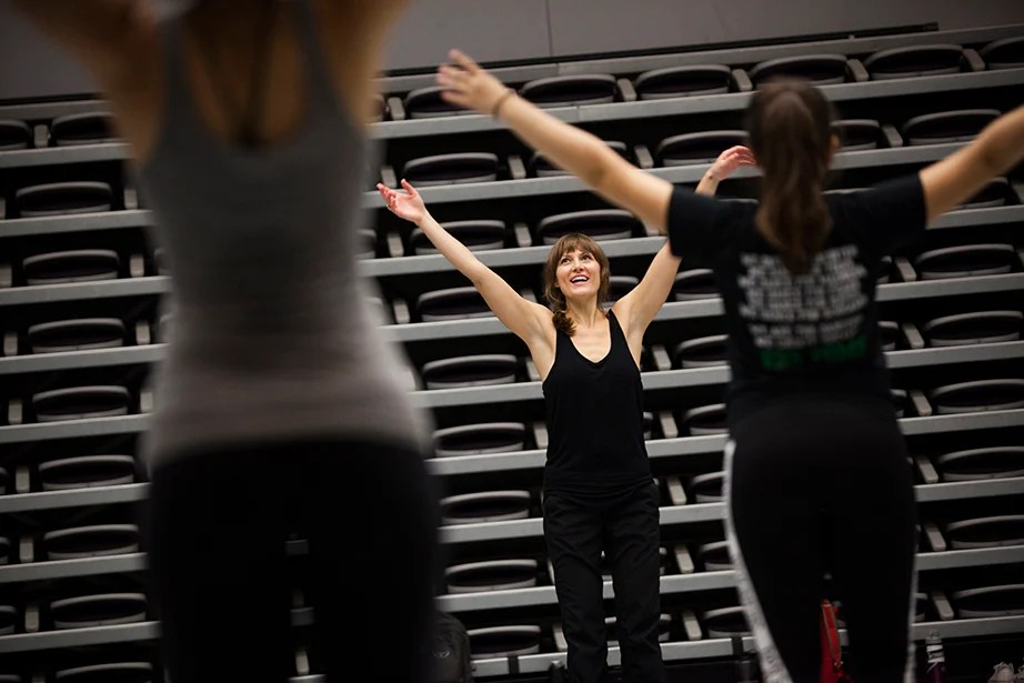 "Students gather in the dance studio to take ""Contemporary Dance: Countertechnique"" from Joy Davis (center), a certified Countertechnique expert, dancer, choreographer and educator. Stephanie Mitchell/Harvard Staff Photographer"