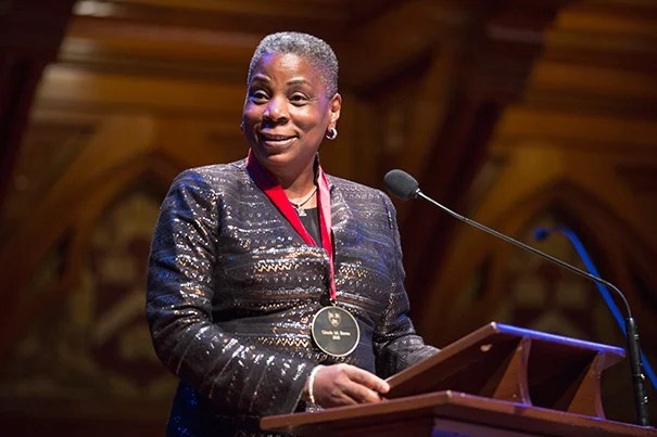 """Ursula M. Burns, chairman and chief executive of Xerox Corp., was the first African-American woman to lead a Fortune 500 company. Burns recalled how her mother stressed the importance of education as """"not only the way up but the way forward."""" Jon Chase/Harvard Staff Photographer"""