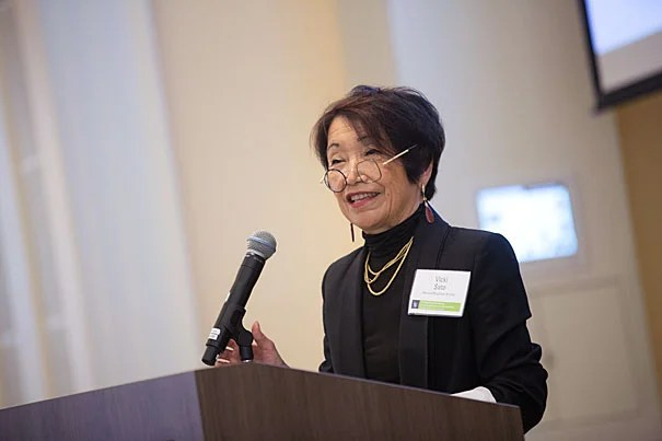 Vicki Sato, Professor of Management Practice speaks at an OTD event at HBS on the business of regenerative medicine inside the Spangler building. Kris Snibbe/Harvard Staff Photographer