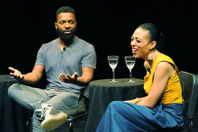 """Baratunde Thurston '99 and Candice Hoyes '99 discuss their experiences as black artists at a recent Harvard Alumni Association event in New York. """"I think sometimes the isolation of being the only black kid helped to drive my excellence,"""" said Hoyes, """"because it didn't seem foreign to me to be in a room studying or working for stretches of hours."""""""